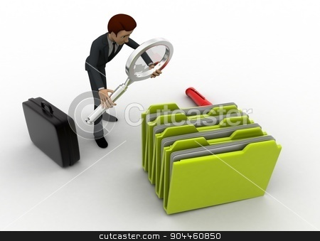 3d man search file from many files concept stock photo, 3d man search file from many files concept on white background, front angle view by 3dlabs