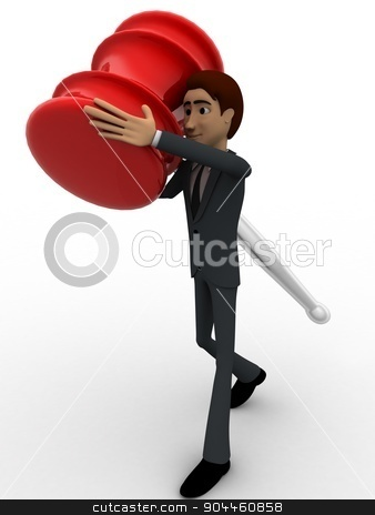 3d man carry big hammer concept stock photo, 3d man carry big hammer concept on white background, front angle view by 3dlabs