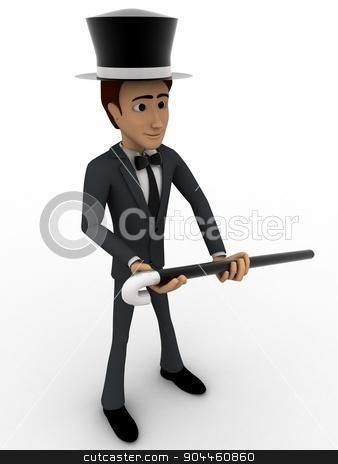 3d man magician concept stock photo, 3d man magician concept on white background, side angle view by 3dlabs