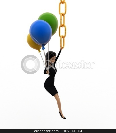 3d woman hanging on chain and holding balloons concept stock photo, 3d woman hanging on chain and holding balloons concept on white background, top angle view by 3dlabs