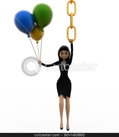 3d woman hanging on chain and holding balloons concept stock photo, 3d woman hanging on chain and holding balloons concept on white background, front angle view by 3dlabs