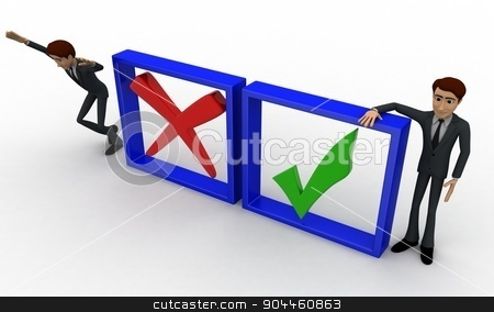 3d man with check and uncheck sign concept stock photo, 3d man with check and uncheck sign concept on white background, top angle view by 3dlabs