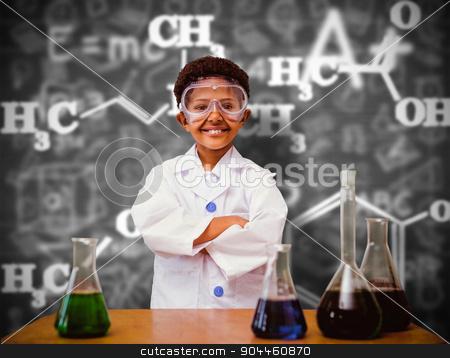 Composite image of cute pupil dressed up as scientist stock photo, Cute pupil dressed up as scientist against black background by Wavebreak Media