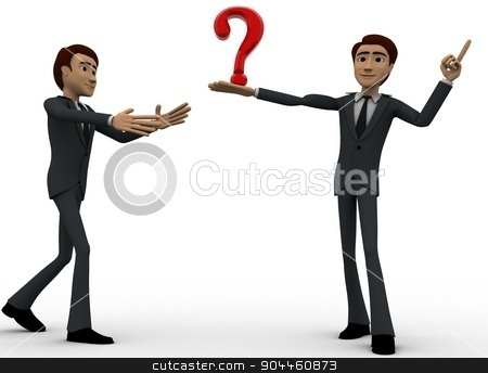 3d man show question mark concept stock photo, 3d man show question mark concept on white background, front angle view by 3dlabs