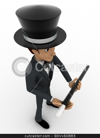 3d man magician concept stock photo, 3d man magician concept on white background, top angle view by 3dlabs