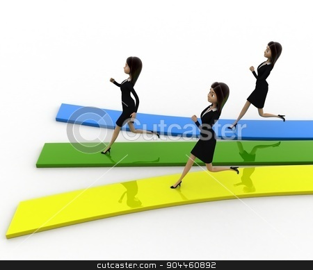 3d woman running on track concept stock photo, 3d woman running on track concept on white background,  side top angle view by 3dlabs