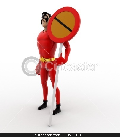 3d superhero  with no entry or stop sign concept stock photo, 3d superhero  with no entry or stop sign concept on white background, side angle view by 3dlabs