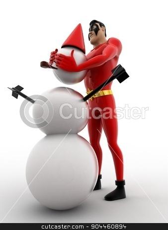 3d superhero  making snow man with snow concept stock photo, 3d superhero  making snow man with snow concept on white background, low angle view by 3dlabs
