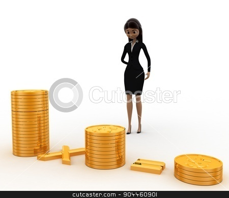 3d woman with pile of coins concept stock photo, 3d woman with pile of coins concept on white background, front angle view by 3dlabs