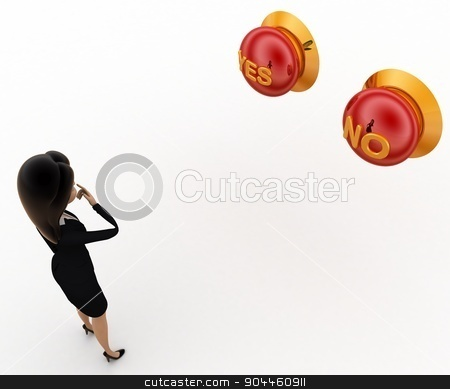 3d woman thinking which button to press yes or no concept stock photo, 3d woman thinking which button to press yes or no concept on white background, top angle view by 3dlabs