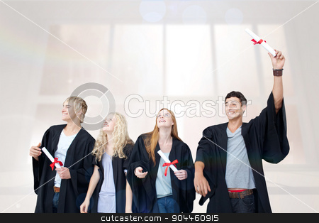 Composite image of group of people celebrating after graduation stock photo, Group of people celebrating after Graduation against bright white room with windows by Wavebreak Media