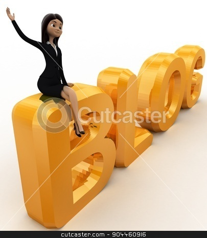 3d woman sitting on blog text concepts stock photo, 3d woman sitting on blog text concepts on white background, side  angle view by 3dlabs