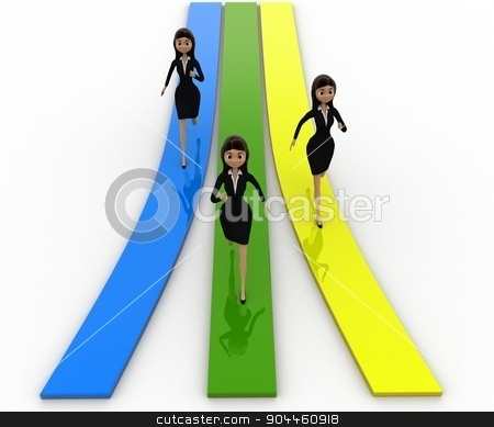 3d woman running on track concept stock photo, 3d woman running on track concept on white background, front angle view by 3dlabs