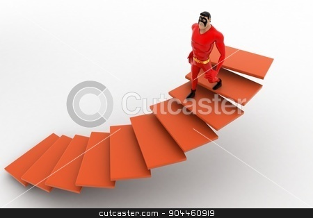 3d superhero  going down from stairs concept stock photo, 3d superhero  going down from stairs concept on white background, top angle view by 3dlabs