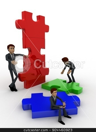 3d man build puzzle builing concept stock photo, 3d man build puzzle builing concept on white background,  side angle view by 3dlabs