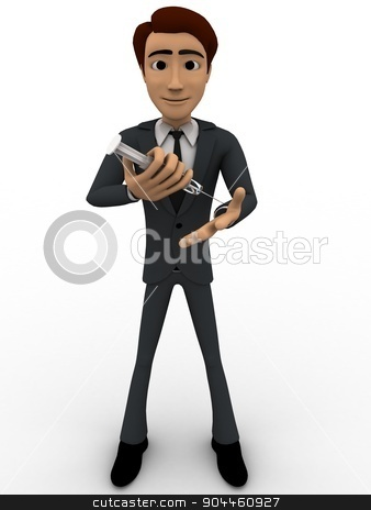 3d man giving injection to himself concept stock photo, 3d man giving injection to himself concept on white background, front angle view by 3dlabs