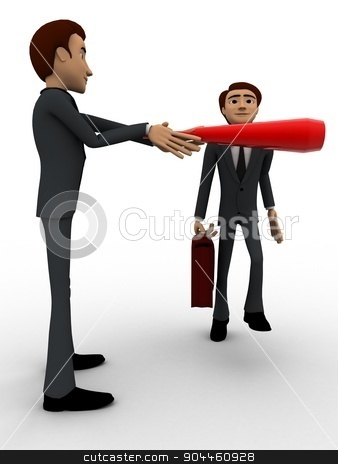 3d man stopping another man from going concept stock photo, 3d man stopping another man from going concept on white background, front angle view by 3dlabs