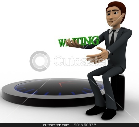 3d man waiting with clock concept stock photo, 3d man waiting with clock concept on white background, side angle view by 3dlabs