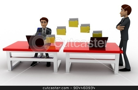 3d man file transfer between computer concept stock photo, 3d man file transfer between computer concept on white background, front angle view by 3dlabs