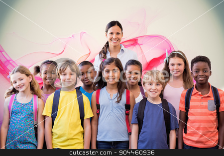 Composite image of cute pupils smiling at camera in the hall  stock photo, Cute pupils smiling at camera in the hall  against pink abstract design by Wavebreak Media