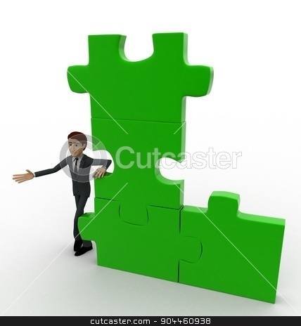 3d man with green puzzle concept stock photo, 3d man with green puzzle concept on white background, side top  angle view by 3dlabs