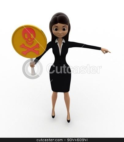 3d woman holding danger symbol in hand concept stock photo, 3d woman holding danger symbol in hand concept on white background, top angle view by 3dlabs