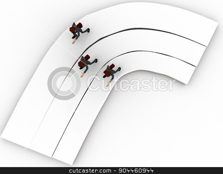 3d men on race track concept stock photo, 3d men on race track concept on white background, top angle view by 3dlabs
