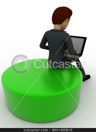 3d man working on laptop concept stock photo, 3d man working on laptop concept on white background, back angle view by 3dlabs