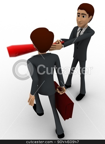 3d man stopping another man from going concept stock photo, 3d man stopping another man from going concept on white background, back angle view by 3dlabs