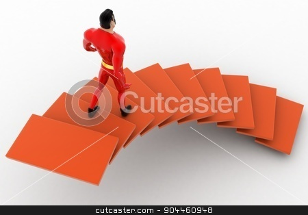 3d superhero  going down from stairs concept stock photo, 3d superhero  going down from stairs concept on white background, back angle view by 3dlabs
