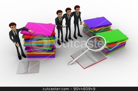 3d man with books and magnifying glass concept stock photo, 3d man with books and magnifying glass concept on white background, top angle view by 3dlabs