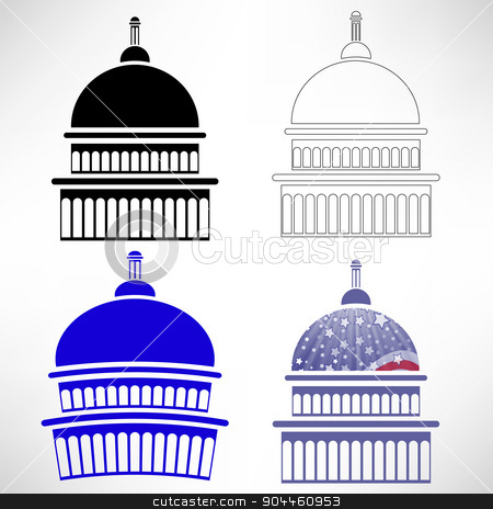 Capitol Icons stock vector clipart, Set of Capitol Icons Isolated on White Background by valeo5
