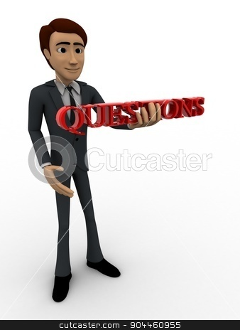 3d man holding questions text in hand concept stock photo, 3d man holding questions text in hand concept on white background, side angle view by 3dlabs