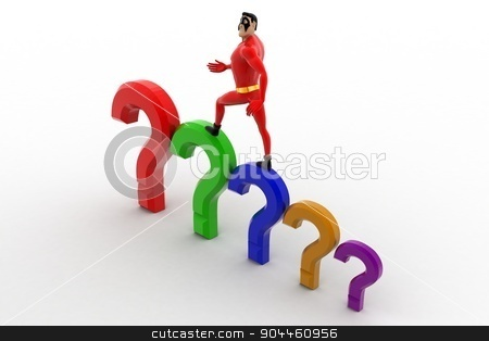 3d superhero  with stairs of question marks concept stock photo, 3d superhero  with stairs of question marks concept on white background, top angle view by 3dlabs