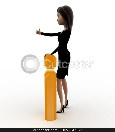 3d woman with golden exclamation mark concept stock photo, 3d woman with golden exclamation mark concept on white background, side angle view by 3dlabs