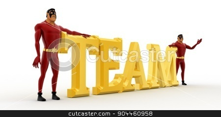 3d superhero s with golden team text concept stock photo, 3d superhero s with golden team text concept on white background, side angle view by 3dlabs