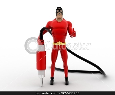 3d superhero  with plug pin concept stock photo, 3d superhero  with plug pin concept on white background, front angle view by 3dlabs