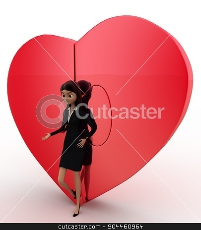3d woman with connected heart concept stock photo, 3d woman with connected heart concept on white background,  side angle view by 3dlabs