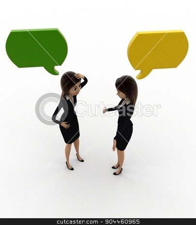 3d woman talking with chat bubble concept stock photo, 3d woman talking with chat bubble concept on white background, top angle view by 3dlabs