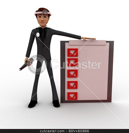 3d man doctor with check list concept stock photo, 3d man doctor with check list concept on white background, front angle view by 3dlabs