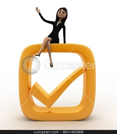 3d woman on check symbol concept stock photo, 3d woman on check symbol concept on white background, front angle view by 3dlabs