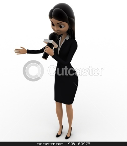 3d woman speaking in mic concept stock photo, 3d woman speaking in mic concept on white background, left  top angle view by 3dlabs