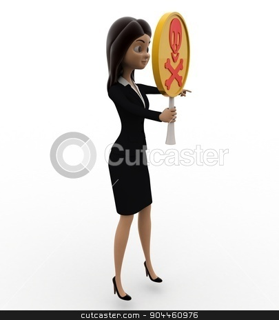 3d woman holding danger symbol in hand concept stock photo, 3d woman holding danger symbol in hand concept on white background, side angle view by 3dlabs