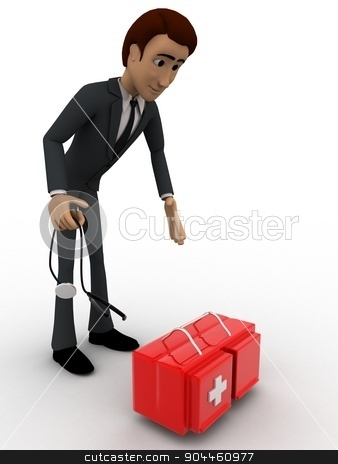 3d man with doctors kit concept stock photo, 3d man with doctors kit concept on white background, side angle view by 3dlabs