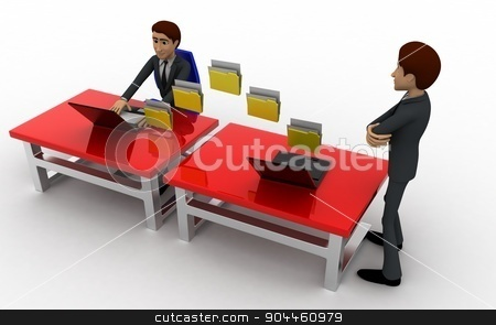 3d man file transfer between computer concept stock photo, 3d man file transfer between computer concept on white background, top angle view by 3dlabs