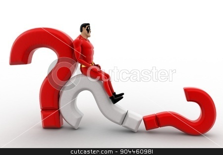 3d superhero  falling from question mark concept stock photo, 3d superhero  falling from question mark concept on white background, front angle view by 3dlabs