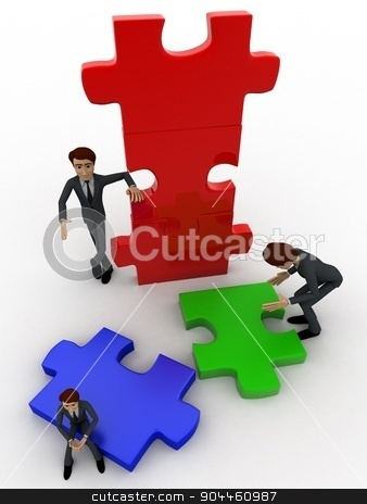 3d man build puzzle builing concept stock photo, 3d man build puzzle builing concept on white background,  top  angle view by 3dlabs