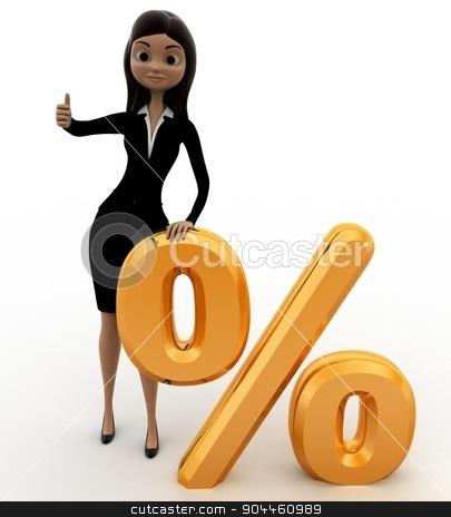 3d woman with golden percent symbol concept stock photo, 3d woman with golden percent symbol concept on white background, front angle view by 3dlabs
