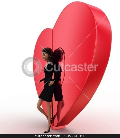 3d woman with connected heart concept stock photo, 3d woman with connected heart concept on white background, low  angle view by 3dlabs