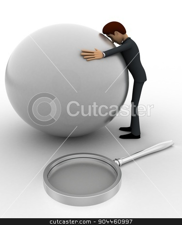 3d man hug globe concept stock photo, 3d man hug globe concept on white background, front angle view by 3dlabs